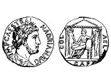 Coin of Hadrian Augustus 117-138 AD