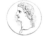 Tiberius, Emperor, from a coin.
