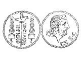 Tiberius on a silver coin
