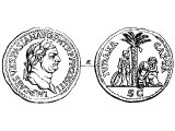 Vespasian, brass coin of commemorating the capture of Jerusalem. Left: bust of Vespasian. Right: `Judea Captive`, Jewish man standing with his hands tied, Jewish woman sitting dejected under a palm tree.