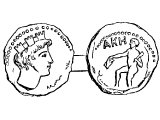 Coin of Acco or Accad or Akko or Ptolemais. Left: turreted head, symbol of the city. Right: AKE, a Greek form of Accho.