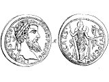 Coin of Antioch in Pisidia. Left: Head of Emperor Severus. Right: Venus standing with one foot on the head of an ox, and the figure for Victory in her hand.