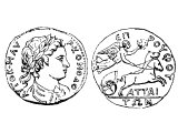 Coin of Attalia or Corcyrus, with bust of Commodus 180-192 AD