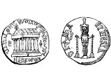 Coin of Ephesus, with temple and statue of Diana.