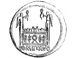 Altar of Lyons, on reverse of a brass coin of Tiberius