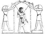 Egyptian gods Hor-Hat and Thoth anointing Amunoph III