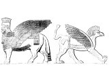 Assyrian composite creatures. Left: Bull with eagles wings and human head. Right: Lion with eagles wing and head. cf the Cherubim & Seraphim, and other creatures in Daniel.