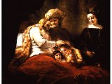 `Jacob Blesses Joseph`s Sons` by Rembrandt (1606-69). The dying Jacob gives the blessing to the younger boy, Ephraim Canvas, 1656. Kassel, Gem ldegalerie.