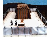 Model of Moses` Tabernacle in the Wilderness, showing the Tabernacle within a courtyard of curtained walls, with the Altar of Burnt Offerings and the Laver for priests to wash their hands and feet.