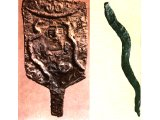 Snakes. Left: Bronze snake from Lachish. Late Bronze Age (cf Num.21:9) (Palestine Archaeological Museum). Right: Standard from Hazor with head of goddess and two snakes on either side. Late Bronze Age.