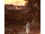 Jesus standing on the Mount of Olives in the evening - by William Hole
