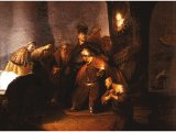 `Judas Returns the Thirty Pieces of Silver` by Rembrandt. Panel, 1629. England, private collection.