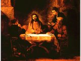 `The Meal in Emmaus` by Rembrandt. Panel, 1648. Paris, The Louvre.