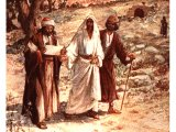 Two disciples meet Jesus on the road to Emmaus - by William Hole