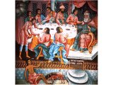 The story of Lazarus and the rich man of Luke 15 - a wall fresco in a monastery in Rila, Bulgaria
