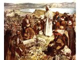Jesus teaching crowds on a high plain - by William Hole