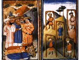 The hanging of the five kings who conspired against Joshua - an illustration from a Dutch Bible, 15th century