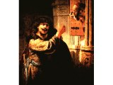 `Samson Threatens his Father-in-Law` by Rembrandt. Canvas, 163(5). Berlin, Gem ldegalerie der Staatlichen Museen.