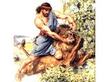 Samson seized the lion and tore it in pieces. Judges 14.6 (Painting by C.E.Brock)