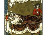 Amnon has brutally overwhelmed his half-sister Tamar - an illustration from a medieval book, AD 1250
