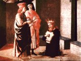 Bathsheba`s child has fallen ill and David spends the night in the open to pray, abasing himself so far that he is standing in a pit - a mural by Francesco Pesellino (1422-57)