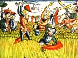 David and his group of strong fighting men standing their ground in a barley-field while the rest of the army fled - a coloured woodcut from the Nuremburg Bible, 1483