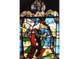 This stained glass window shows Joab killing Amasa while pretending to greet him.