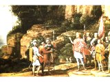 Three of David`s champions went to a well at Bethlehem and offer the water to David - detail from a painting by the French artist G. Claude (1600-1682)