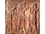 Deportees going into exile on relief from palace of Ashurbanipal at Nineveh. 7th century BC. (Louvre, Paris.