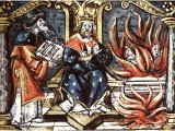 Hezekiah burns the idols - a coloured woodcut from Henry VIII`s Great Bible, 1538
