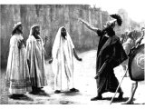 Rab-shakeh before the walls of Jerusalem when he came with a great Assyrian army. (II.Kings xviii, 28-37). Painting by the Spanish 19th C Jose Villegas.