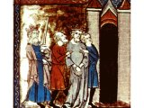 The blind and chained Zedekiah being deported to Babylon - a miniature from a French Bible, 14th century