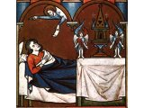 God calls Samuel as he sleeps - an illustration from a medieval picture-book, AD 1250