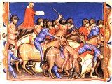 Victory of the Israelites over the Philistines near Bethcar - from a 14th century illuminated Bible