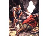 Once he spared Saul`s life when he found him in a cave, sleeping. 1 Samuel 24.4