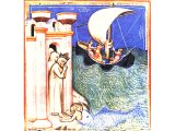 Jonah falls into the sea - from a 14th century illuminated Bible
