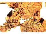 Papyrus showing an Egyptian woman painting her lips with a brush held in her right hand while in her left she is holding a mirror and what may be a tube of kohl for making up her eyes.