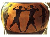 Boxers depicted on Greek vase. 5th century BC.
