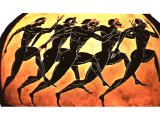 Foot race depicted on Greek vase.