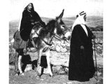 An Arab journeying with his wife, like Jacob with Rachel or Joseph with Mary. An early photograph.
