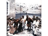Water-carriers come to David`s Pool at Hebron to fill their goat-skin `bottles`. An early photograph.