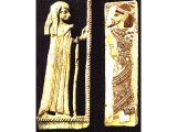Canaanite lady on ivory from Megiddo, 13th or 12th century BC. (Oriental Institute, Chicago), Canaanite on glazed tile, Medinet Habu, 12th century BC. (Cairo Museum).