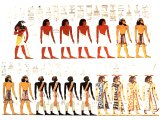 Egyptians, Canaanites, Nubians and Lybians on fresco in tomb of Seit. c. 1300 BC. `The sons of Ham: Cush (Nubians), Egypt, Put (Lybians), and Canaan..` (Gen.10:6).