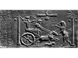 Trilingual cylinder-seal, engraved with the name of Darius. The king is hunting lions.