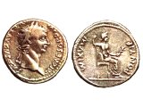 Denarius of Tiberius Caesar. Tiberius (42 B.C. - A.D. 37) became Roman Emperor in A.D. 14. This would have been the picture on the coin shown to Jesus, when he asked `Whose portrait is this?` (Matt.22.15)