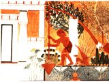 Egyptian painting from tomb of Ipui, Thebes, 13th century BC, showing slave working an irrigation machine.