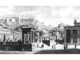 Athens. This reconstruction drawing is of the civic centre. Dominating the scene is the Acropolis, showing the columned gate-house, the statue of Athene and the roof of the Parthenon.