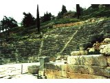 Delphi- Theatre. Music, poetry recitation and dramatic re-enactments of mythical stories were very much a part of religious pilgrimages to the oracle at Delphi. The theatre could hold 5,000 people.