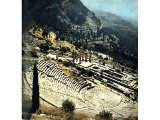 The temple of Apollo at Delphi standing on a high stone platform and behind it an amphitheatre on a majestic scale