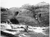 Cave-dwellings in Mount Seir. The descendants of Esau settled in the Land of Edom or Seir and they may have lived in such caves. An early photograph.